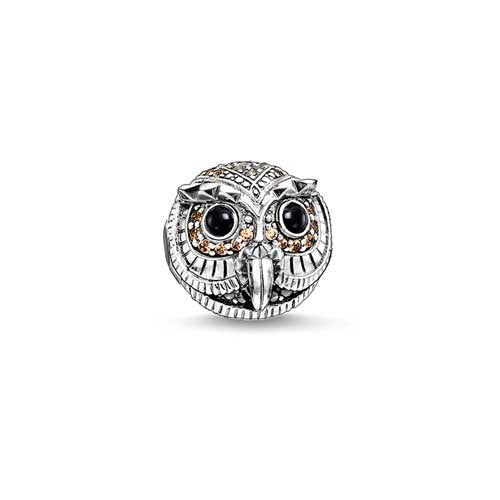 Silver and CZ owl Karma Beads charm