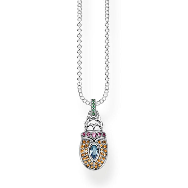 Silver scarab beetle necklace