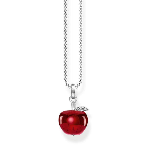 Silver and red enamel apple necklace
