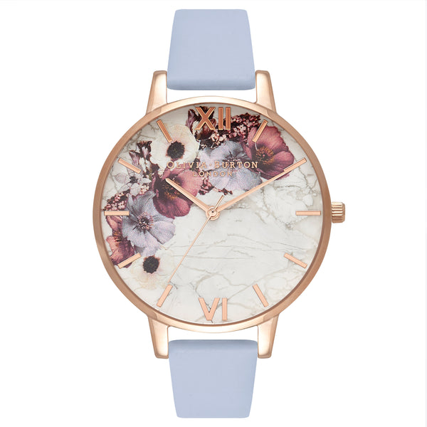 Floral watch with blue band