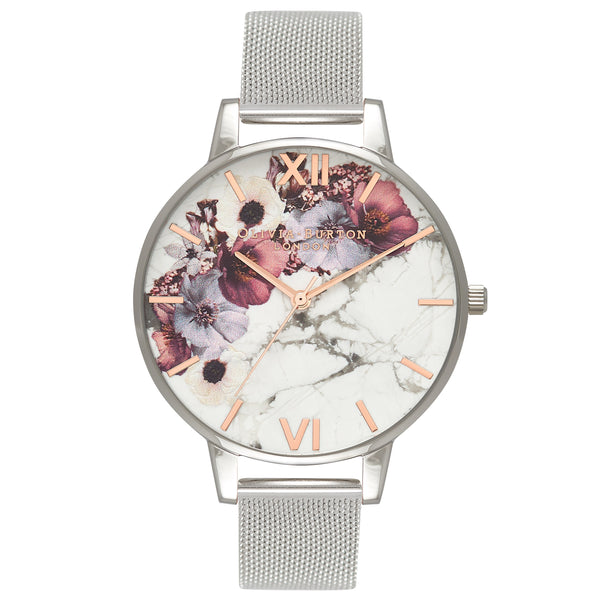 Floral watch with mesh strap