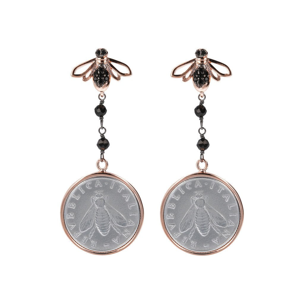Rose gold bee and coin earrings