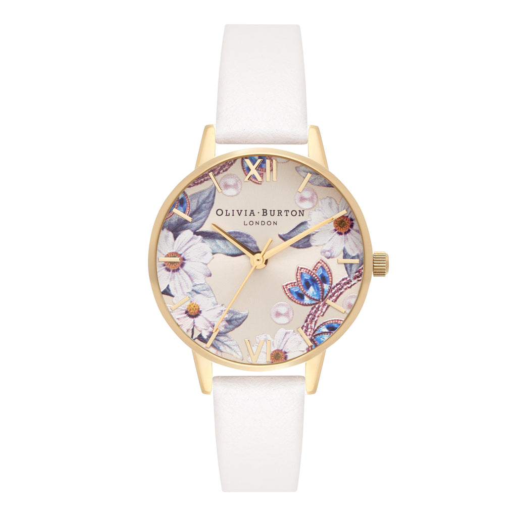 Floral watch with white band