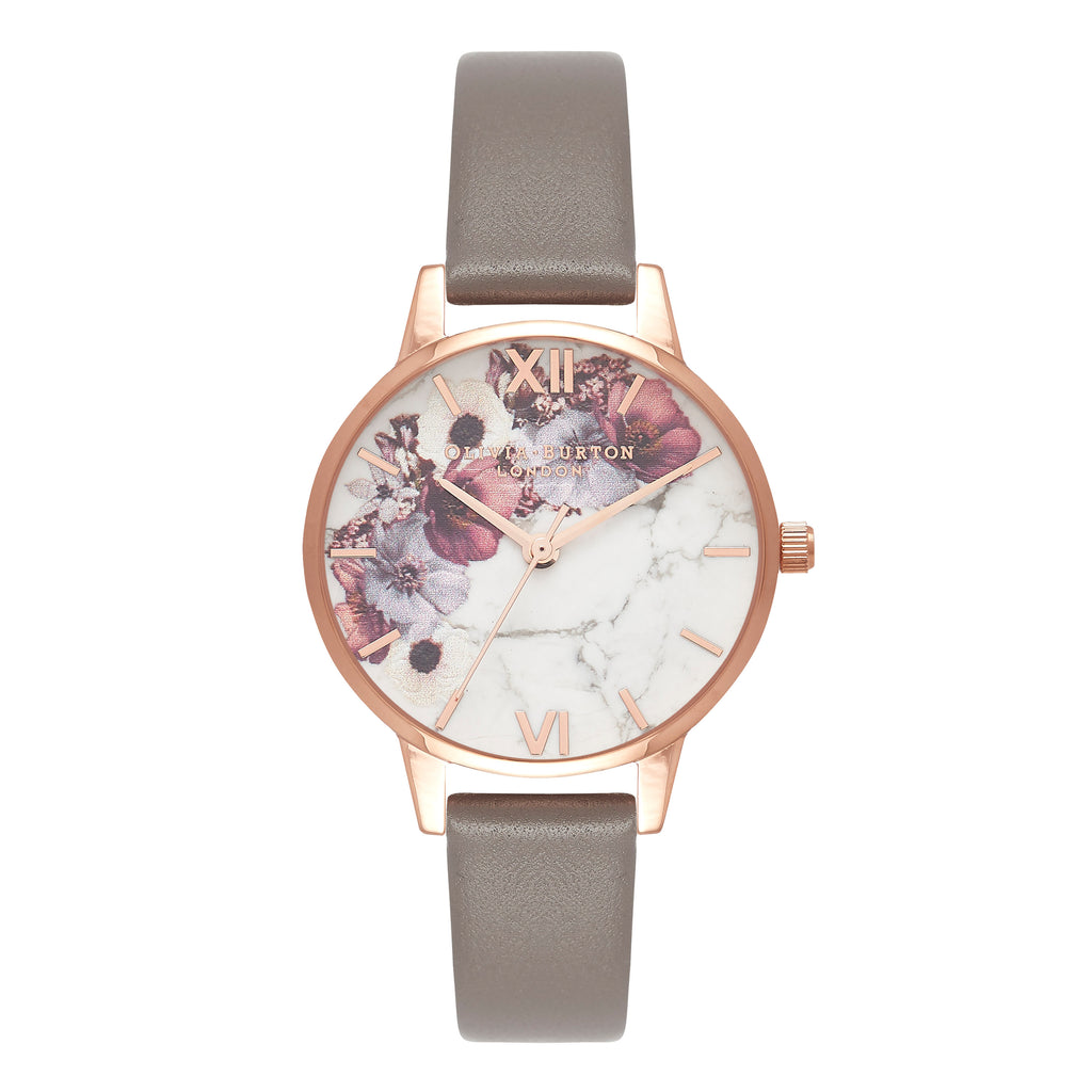Floral watch with grey band