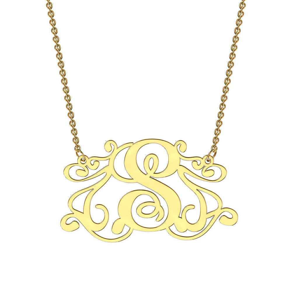 Yellow gold monogram necklace