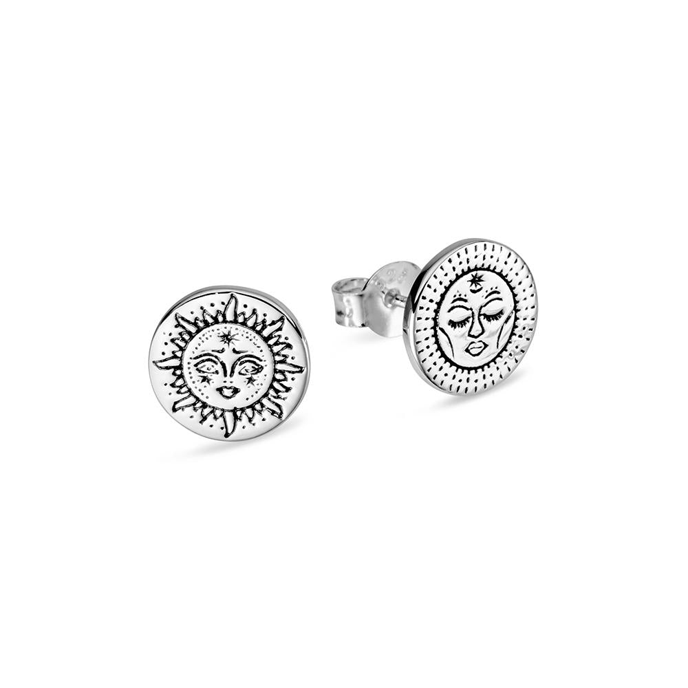 Silver sun and moon stud earrings