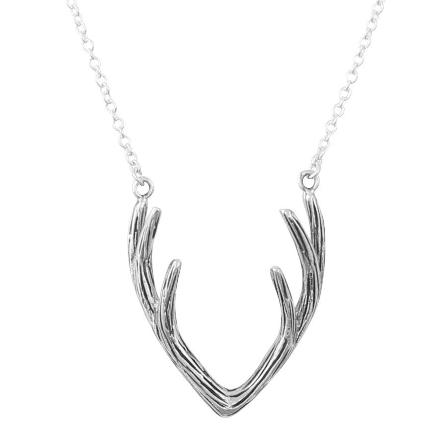 Silver antler necklace with chain