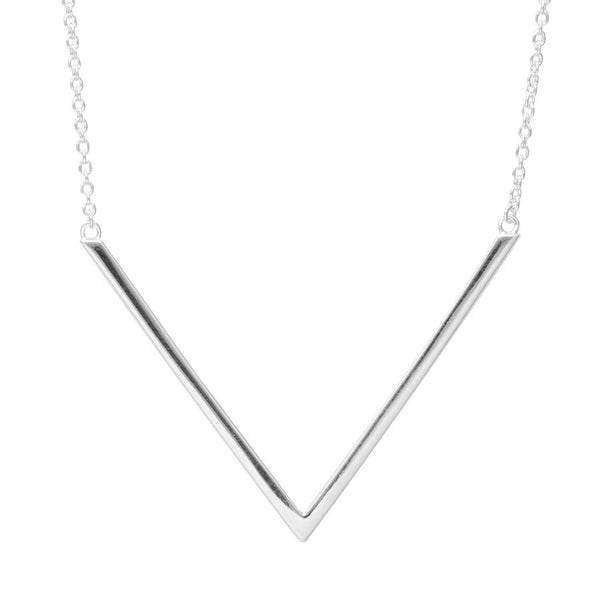 Silver v-shape necklace with attached chain