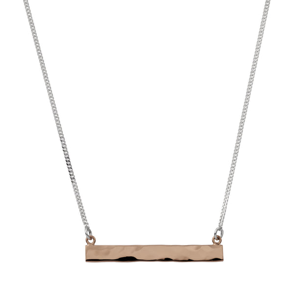 Najo silver bar necklace with rose gold and hammer finishes
