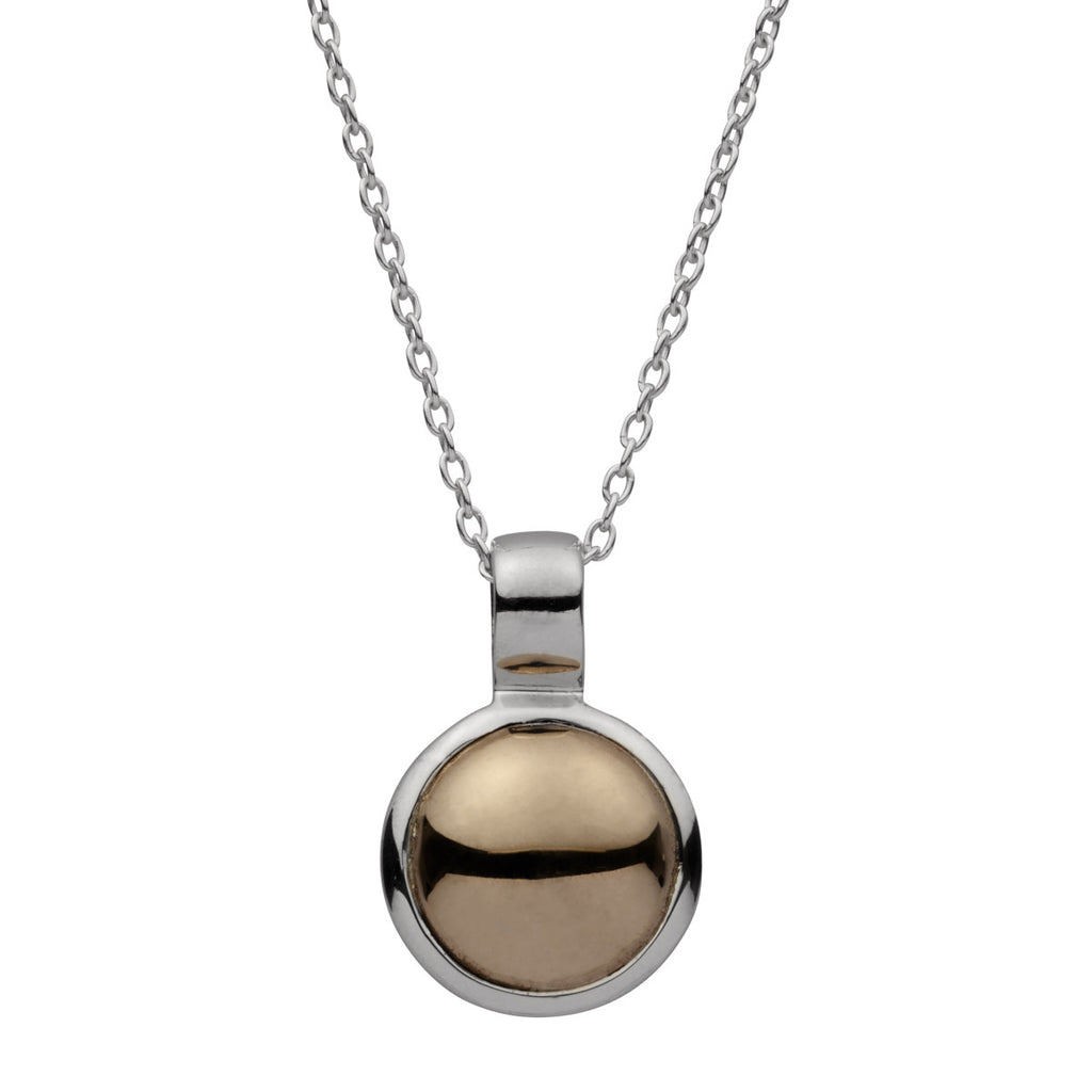 Najo silver and brass necklace with round pendant