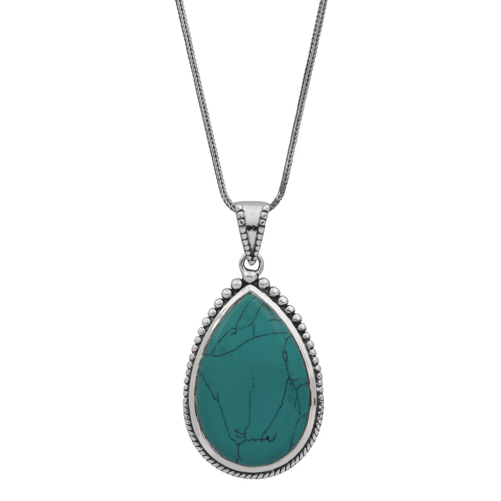 Najo silver necklace with teardrop-shaped turquoise stone