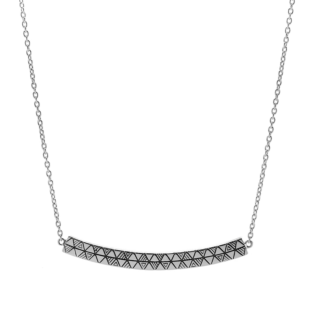 Najo silver patterned bar necklace