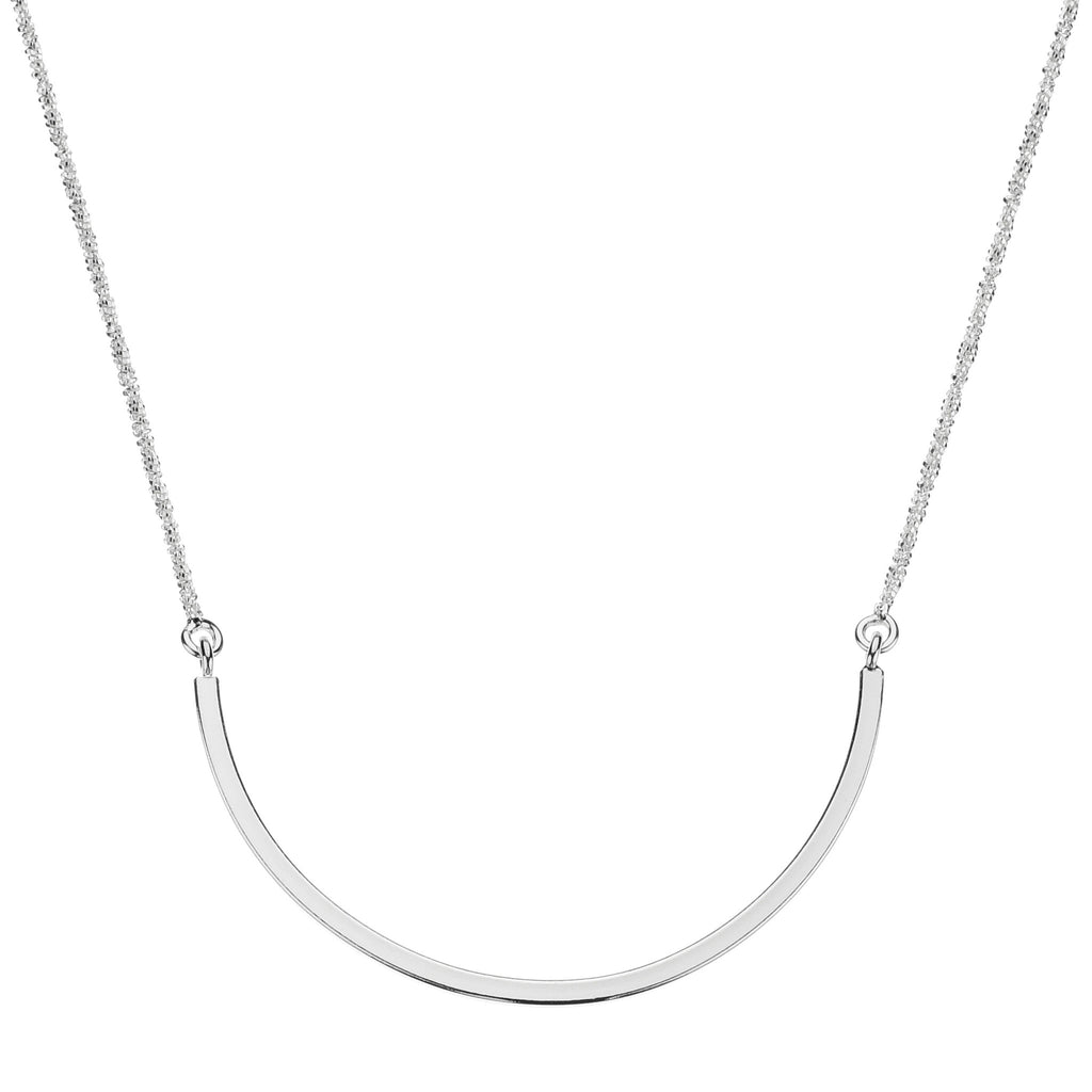Najo silver curved bar necklace