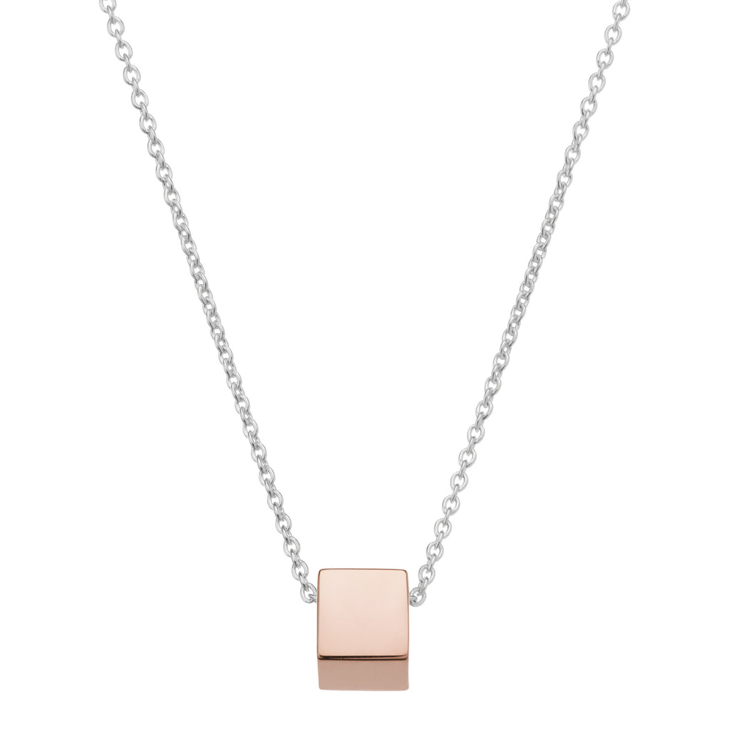 Silver necklace with rose cube