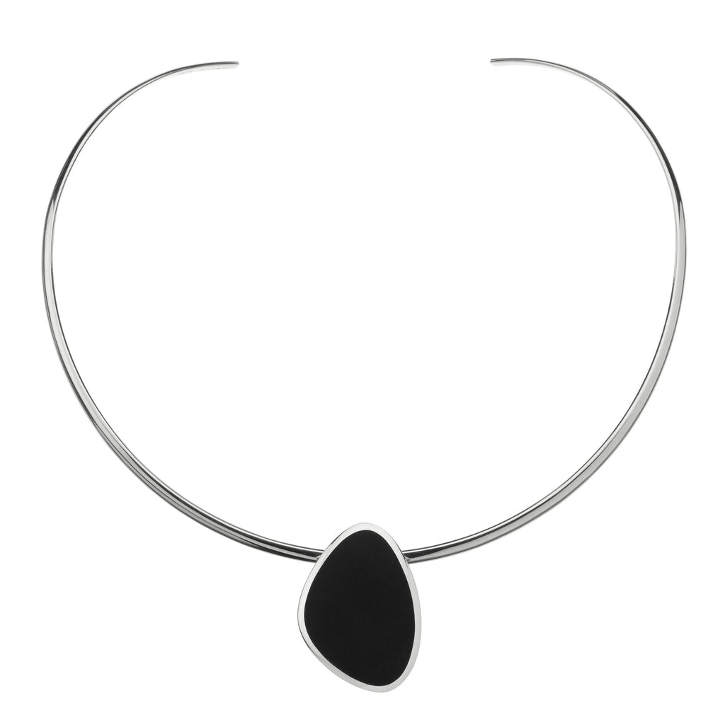 Matte onyx slice on silver choker
