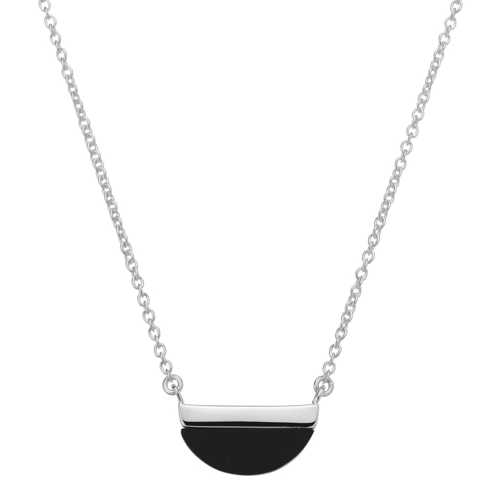 Silver and onyx necklace