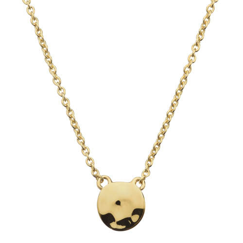 Gold finish beaten disc necklace