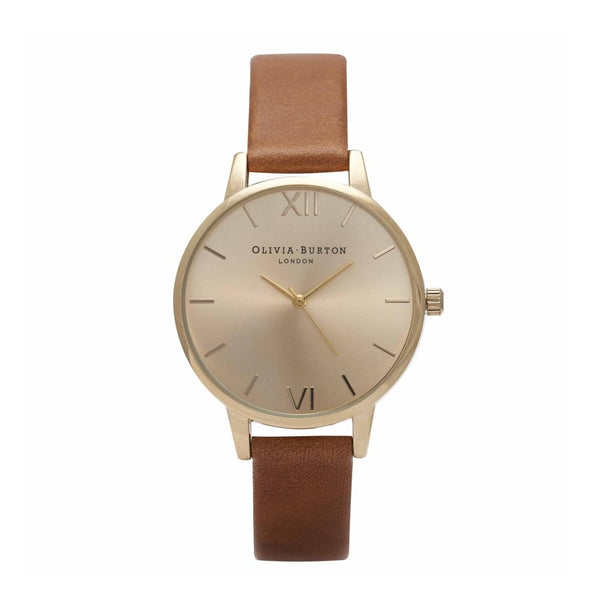 Tan and gold watch