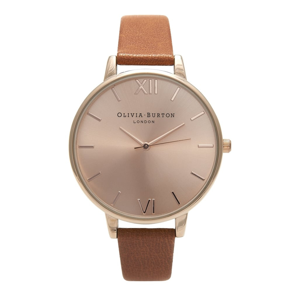 Tan and rose watch