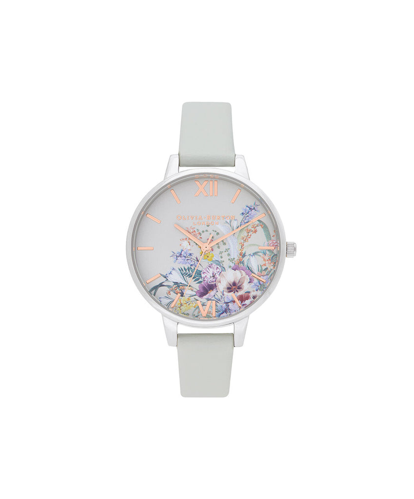 Floral dial watch with vegan band
