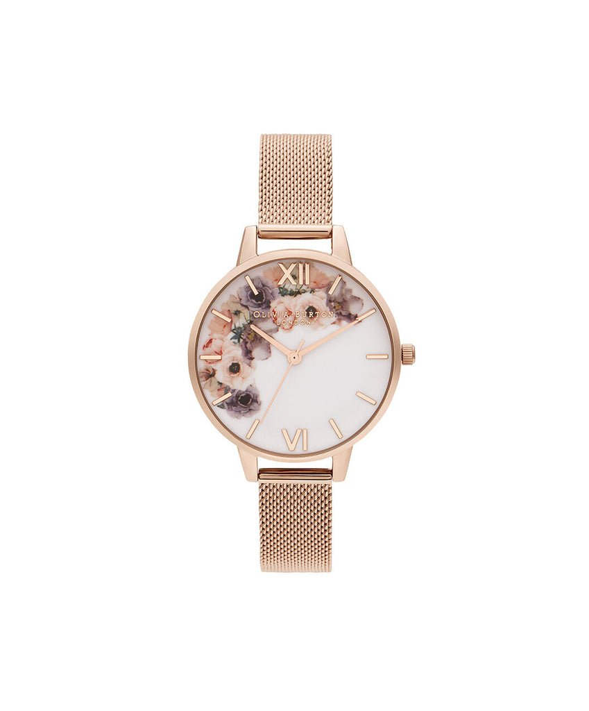 Rose gold watch with floral dial