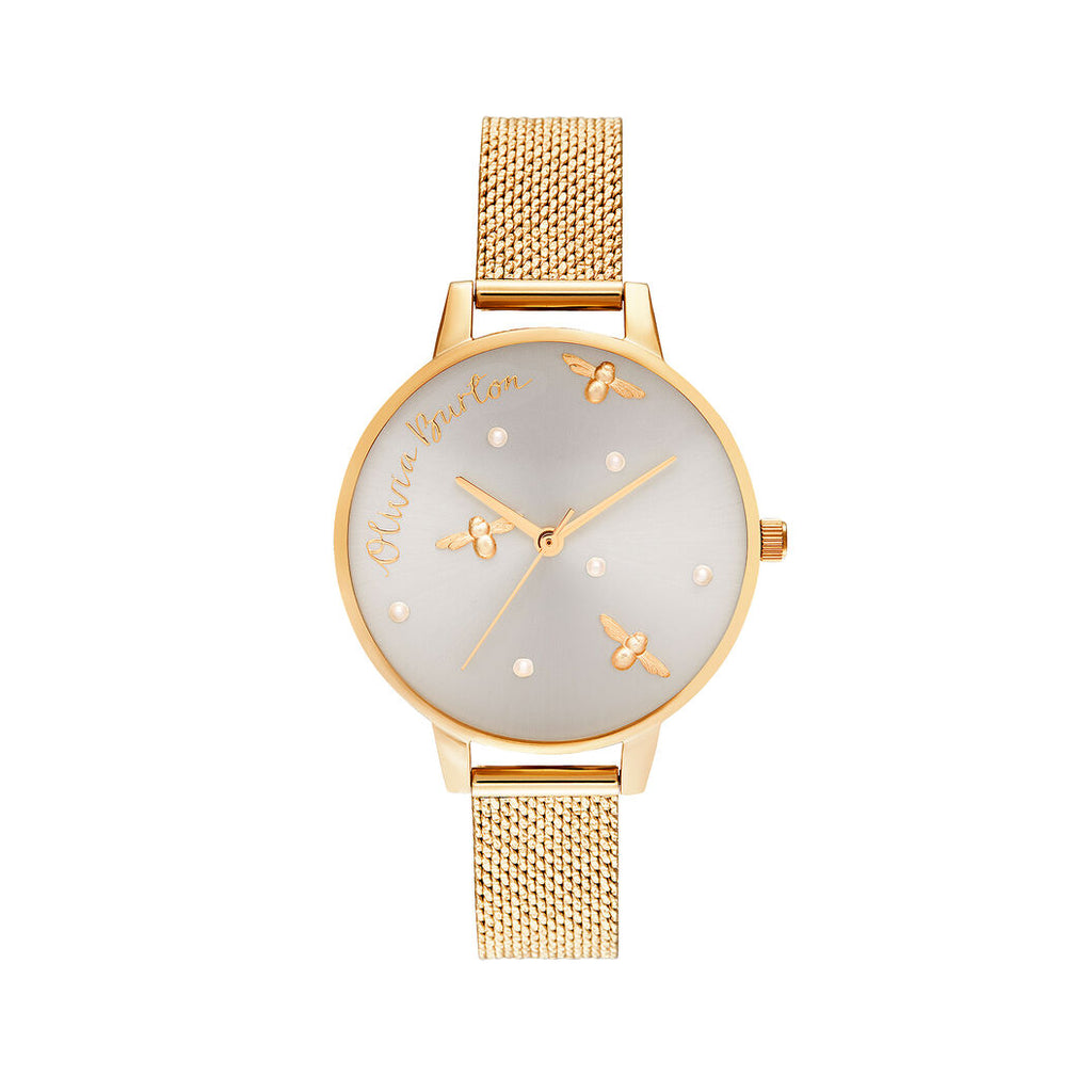Yellow gold bee watch with mesh band