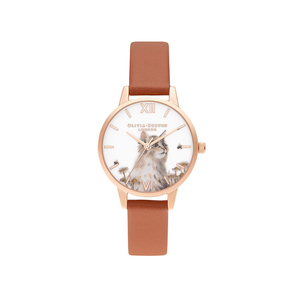 Rose gold cat printed watch with brown leather band