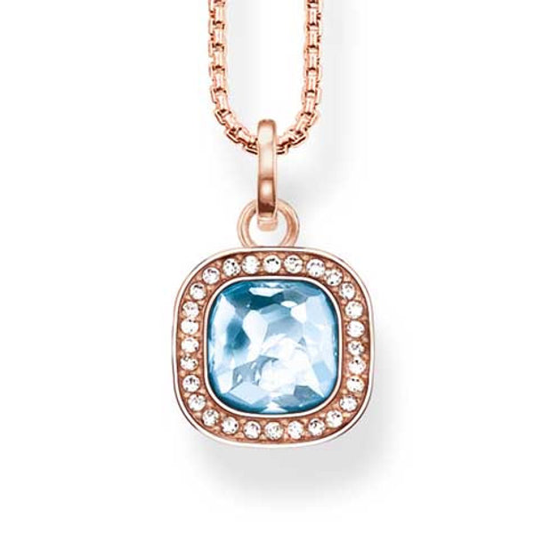 Thomas Sabo silver pendant with rose finish and blue and clear stones