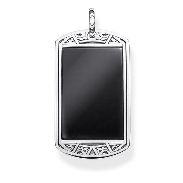 Silver dog tag pendant