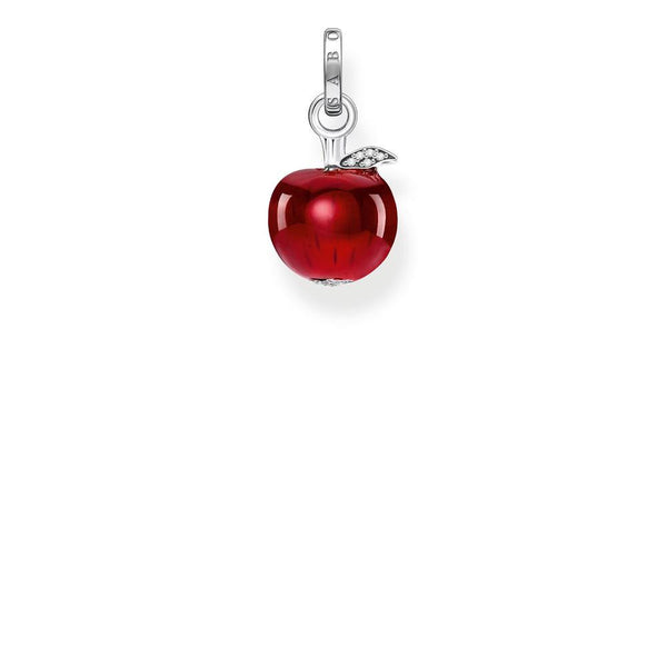 Silver and red enamel apple pendant