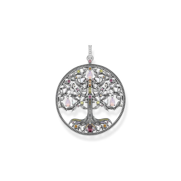 Silver tree pendant with coloured stones