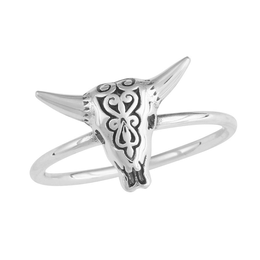 Silver ring with filigree cow skull