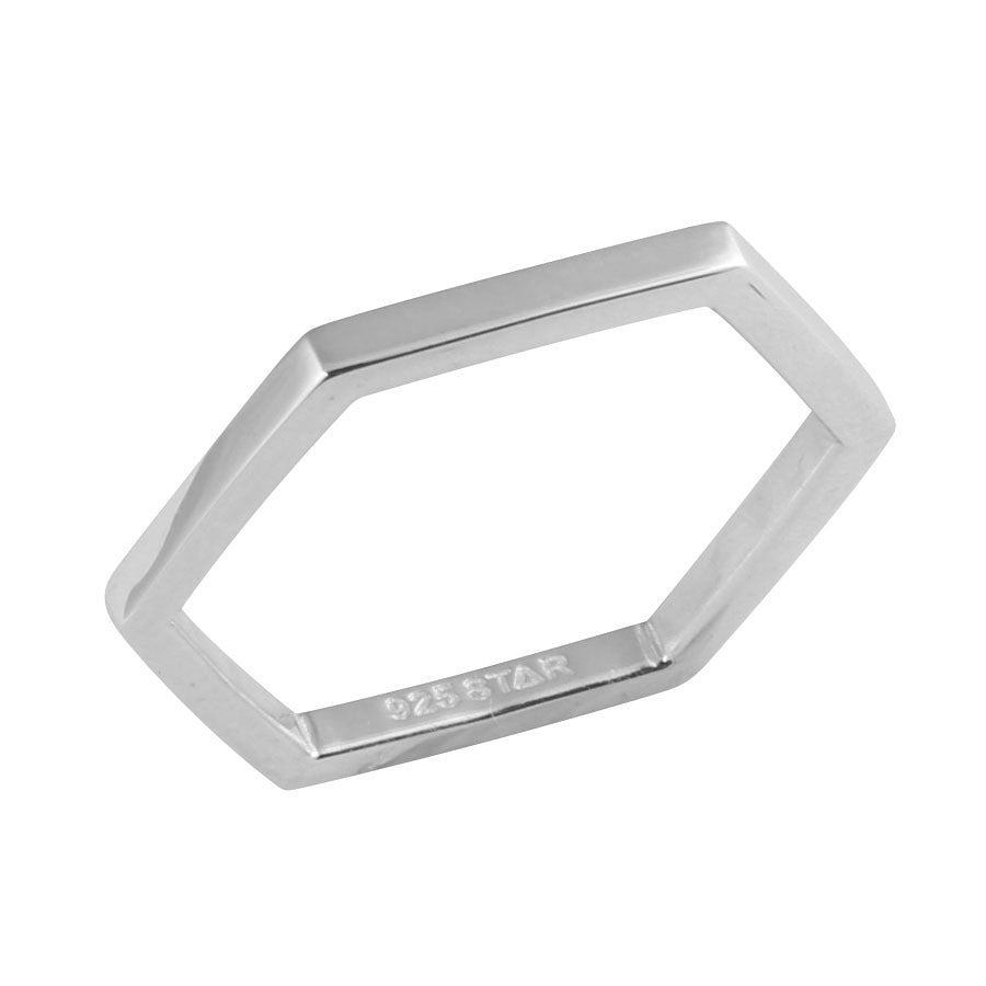 Silver hexagonal ring