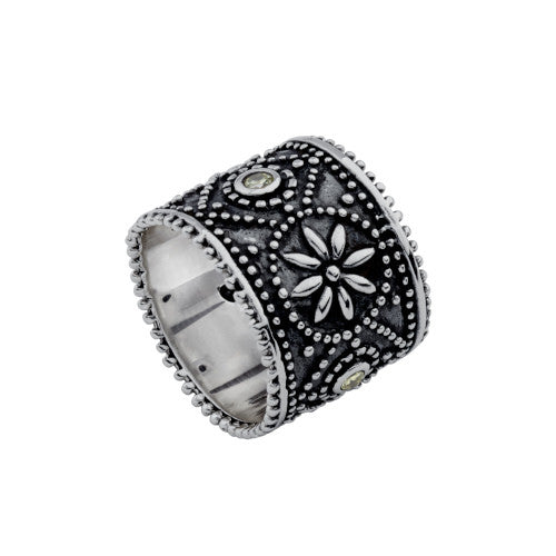 Najo oxidised silver ring with floral designs and green stones