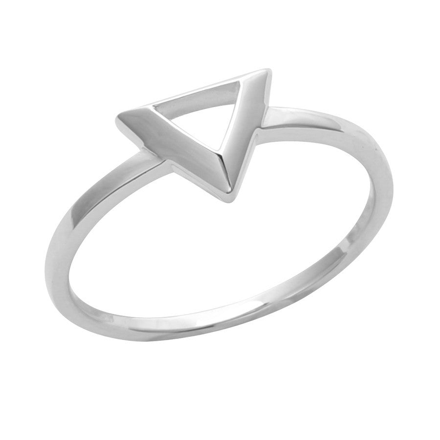 Silver polished triangle ring