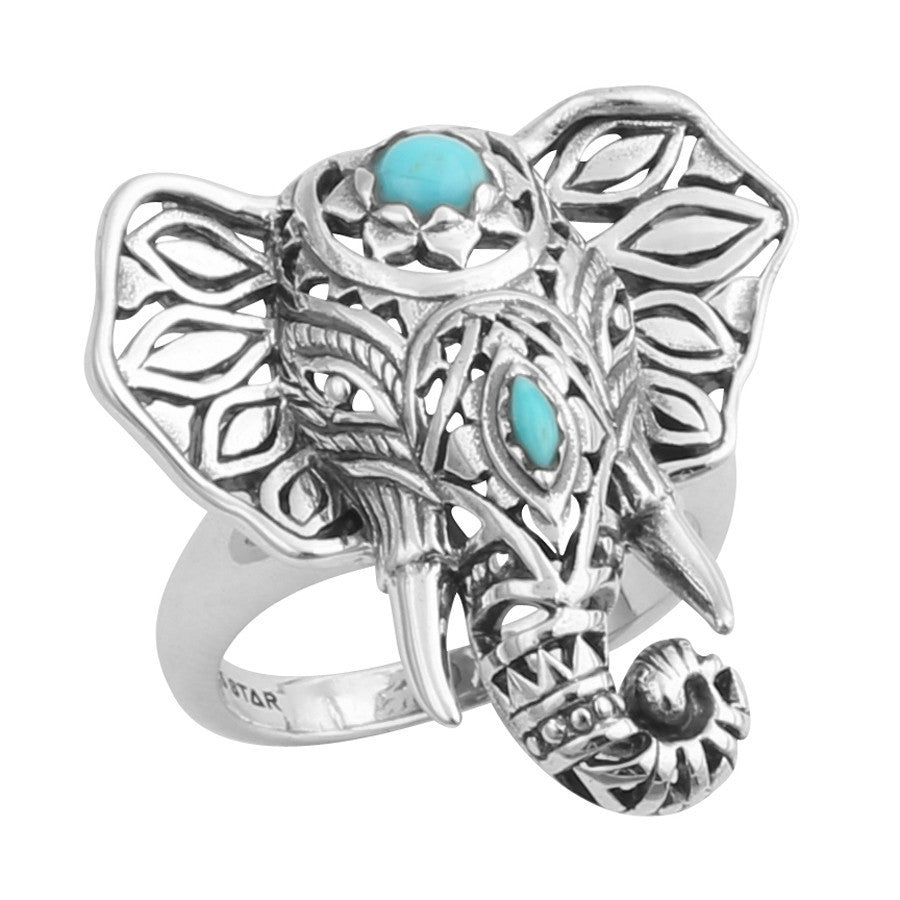 Silver decorated elephant ring
