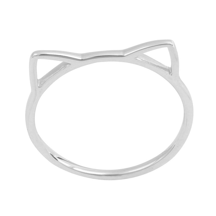 Silver cat ears ring