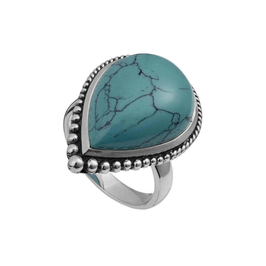 Najo teardrop turquoise ring with beaded edge