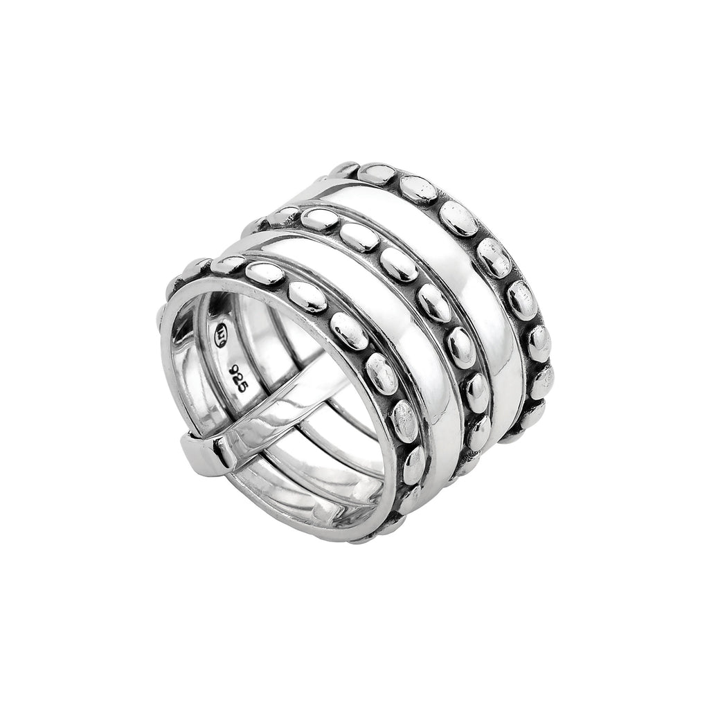Najo silver 5-band ring in keeper