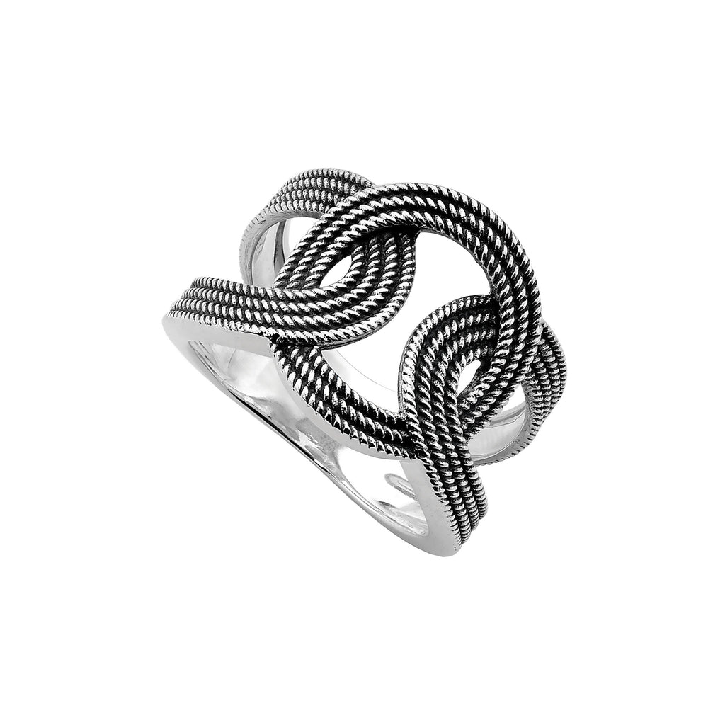 Najo oxidised silver loop ring