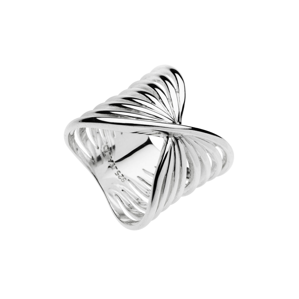 Najo silver crossover wire ring
