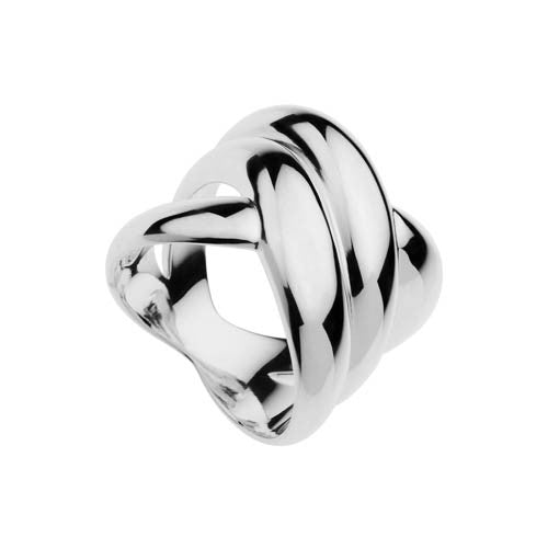 Silver crossover band ring