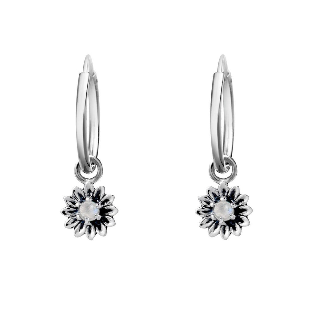 Silver sunflower sleeper earrings