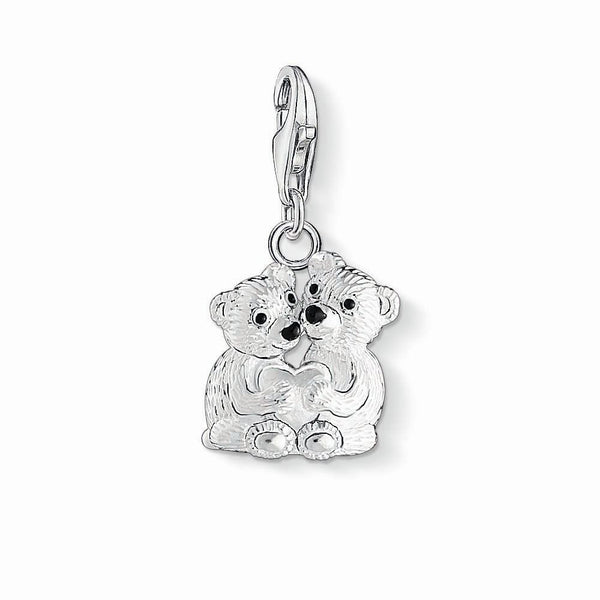 Charm Club silver bear family charm with enamel