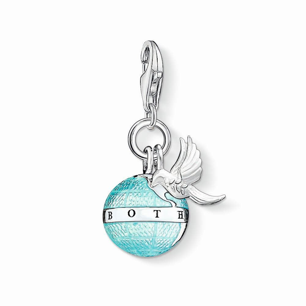 Charm Club silver world peace charm with enamel