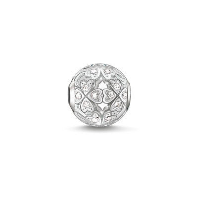 Silver and CZ clover Karma Beads charm