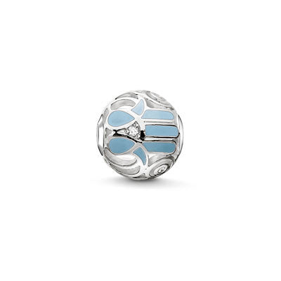Silver, blue enamel and CZ hand of Fatima Karma Beads charm