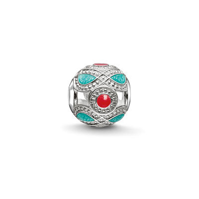 Silver and enamel ethnic Karma Beads charm