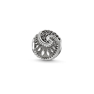 Silver and black CZ Maori Karma Beads charm