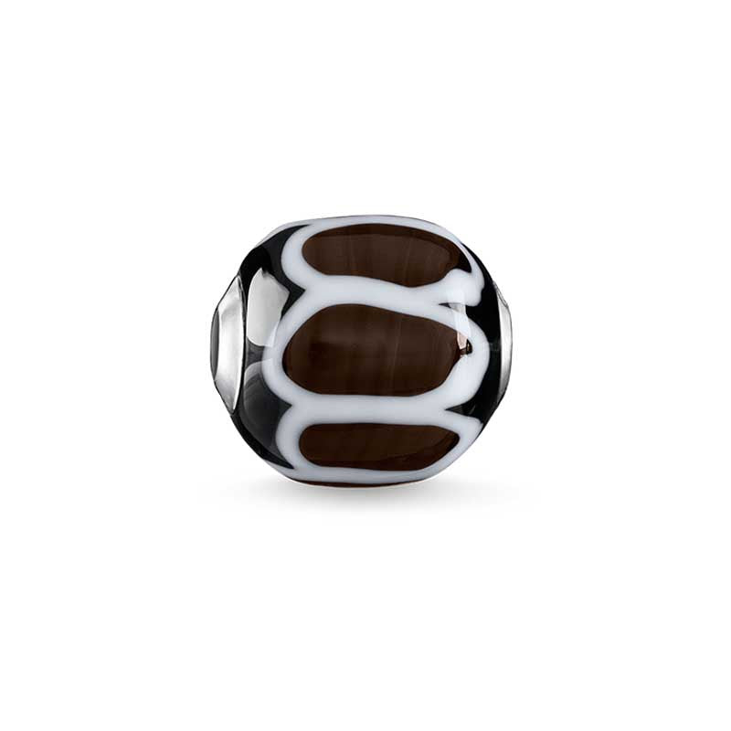 Brown, black, white glass bead